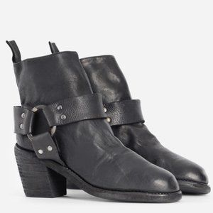GUIDI black horse leather biker moto ankle boots